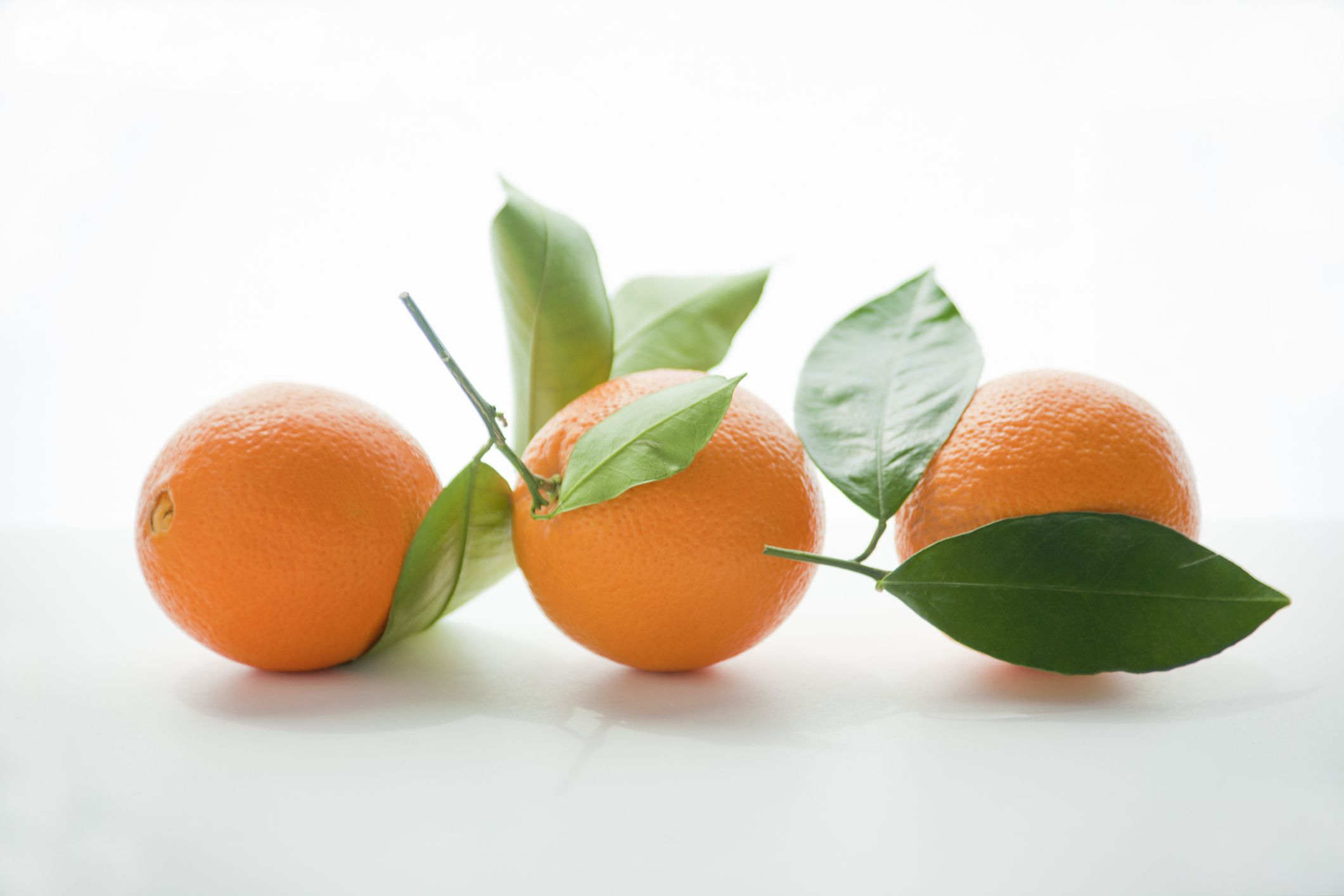 Navel oranges with leaves