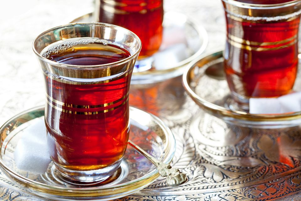 Turkish brewed black tea is traditionally served in tulip-shaped tea glasses