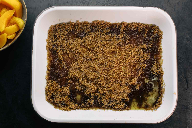 brown sugar in a baking pan