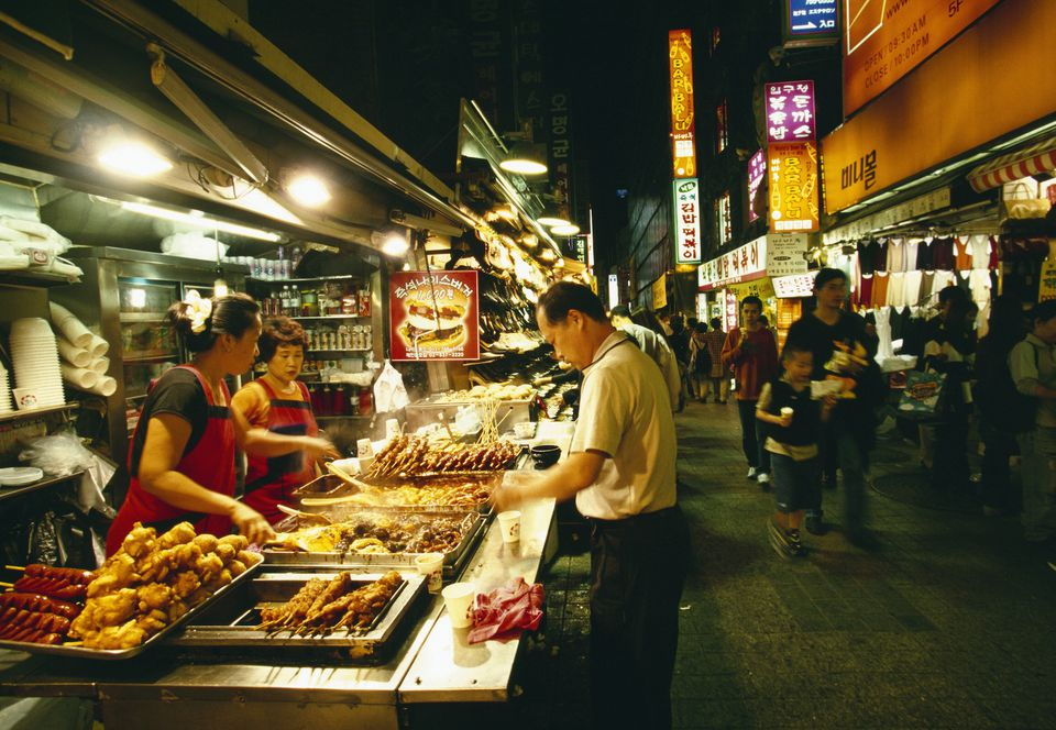 Food stall in Myeondong Market, Seoul