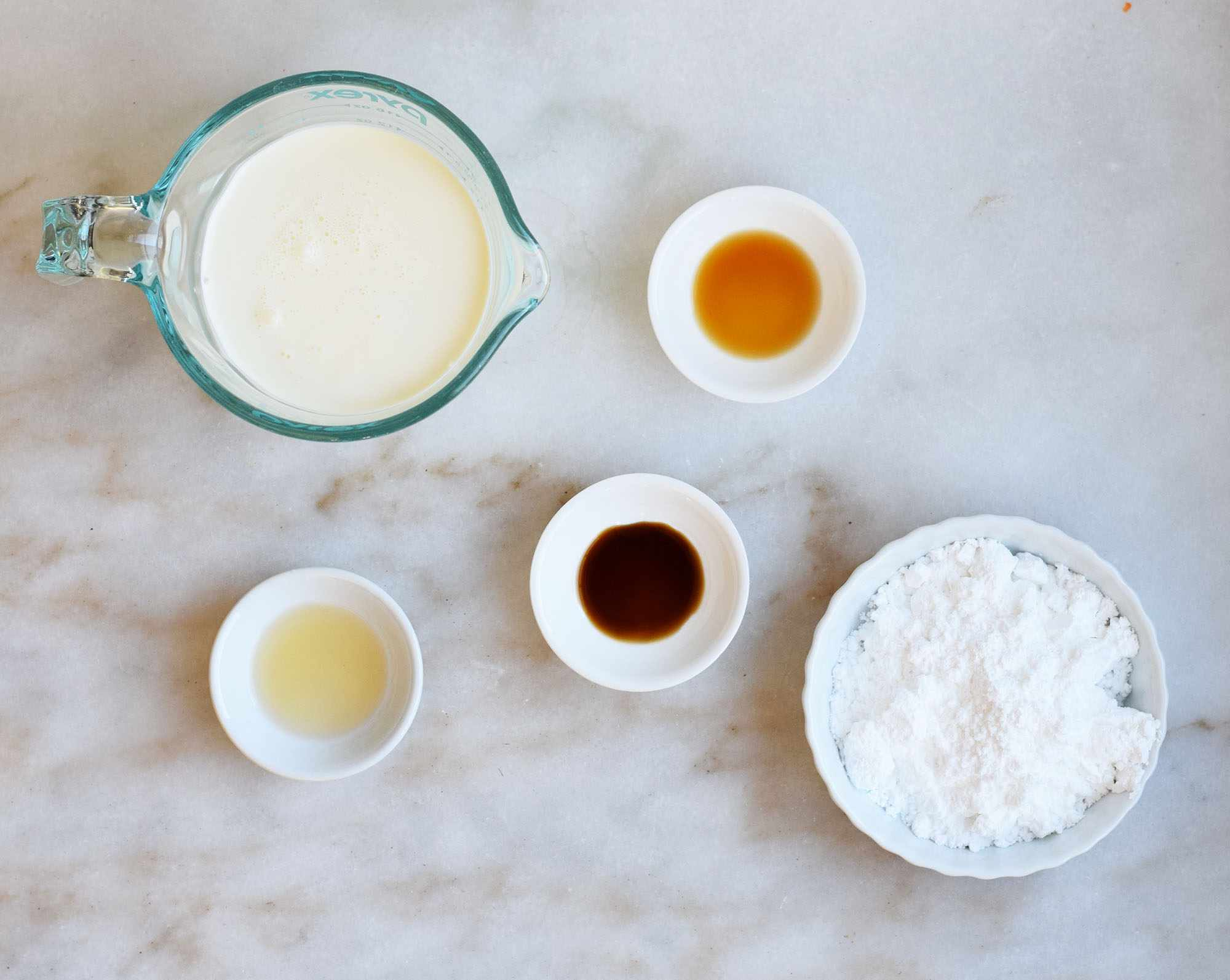 ingredients for bourbon whipped cream