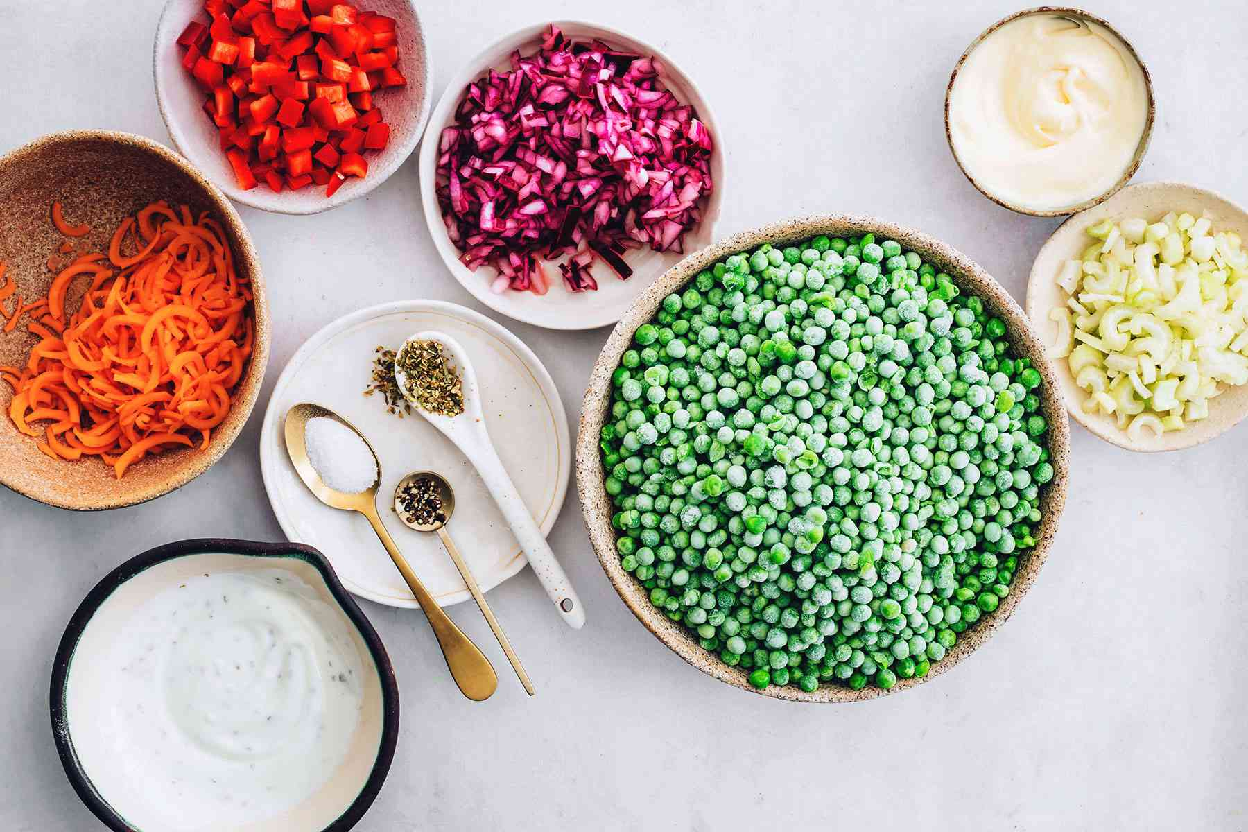 Green Pea Salad With Easy Creamy Dressing ingredients