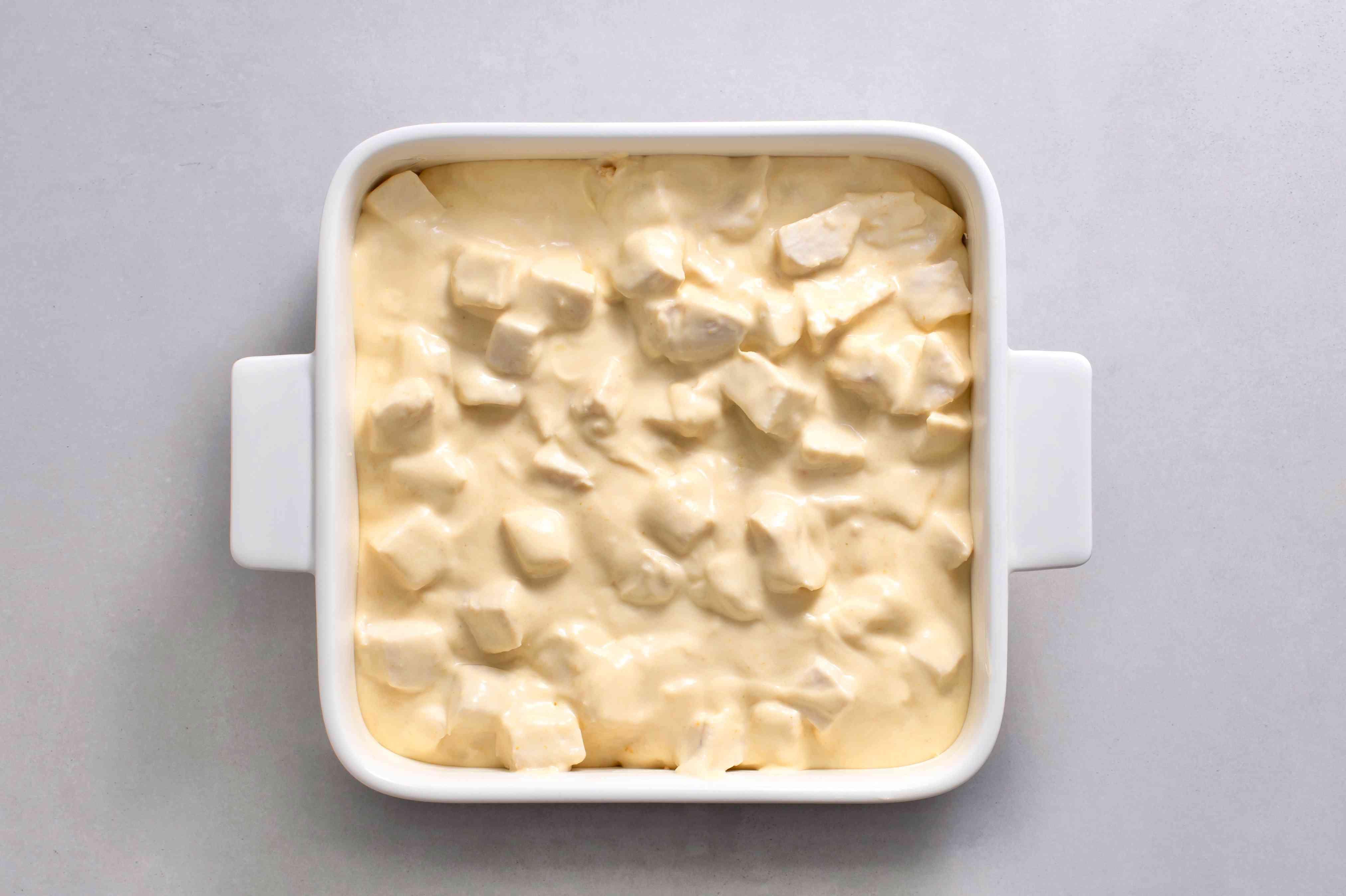 chicken mixture in the casserole dish
