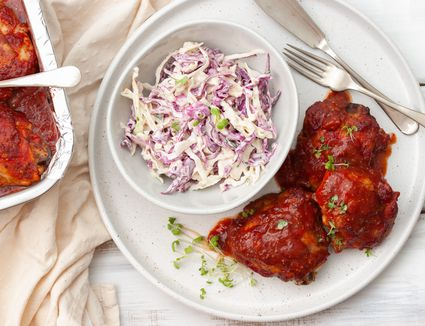 Oven barbecued chicken thighs