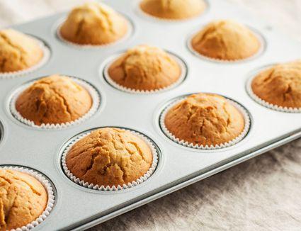 Vanilla muffins in a baking tin