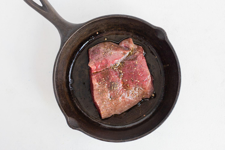 Rub mixture on steak and put on skillet
