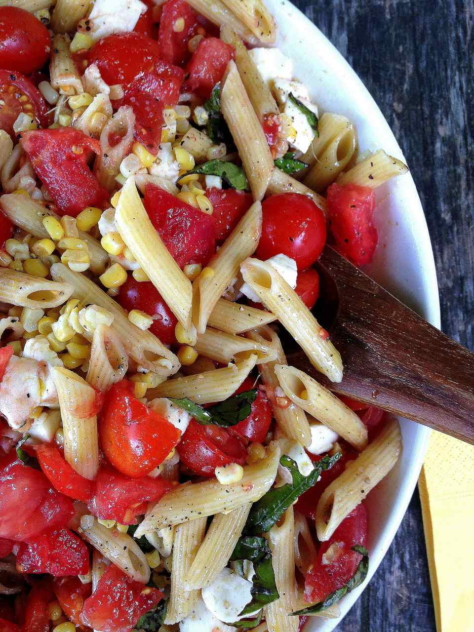 Simplest Tomato, Mozzarella Pasta Salad from Katie Workman/ themom100.com