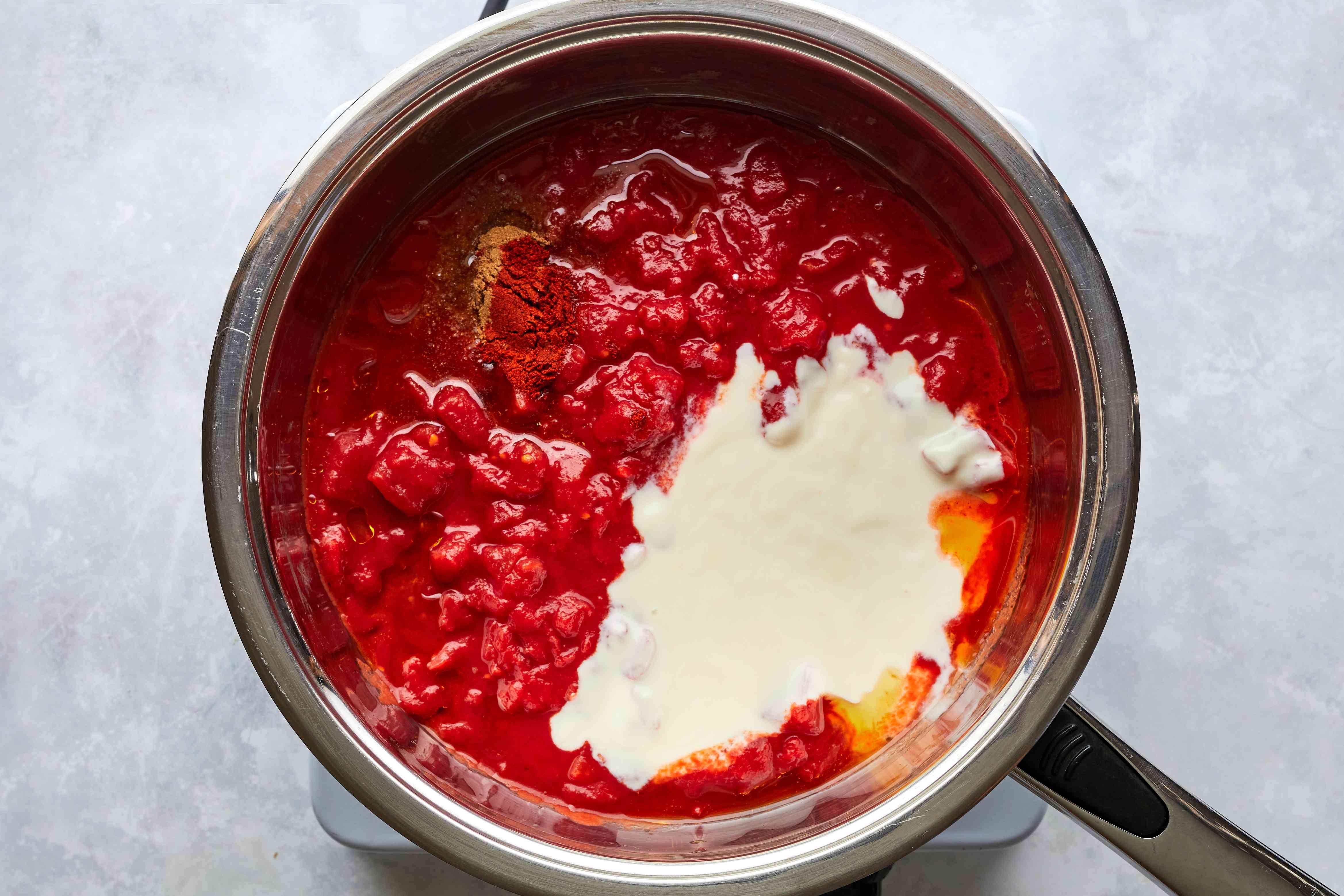 Tikka sauce ingredients in pan
