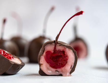 Homemade chocolate-covered cherries