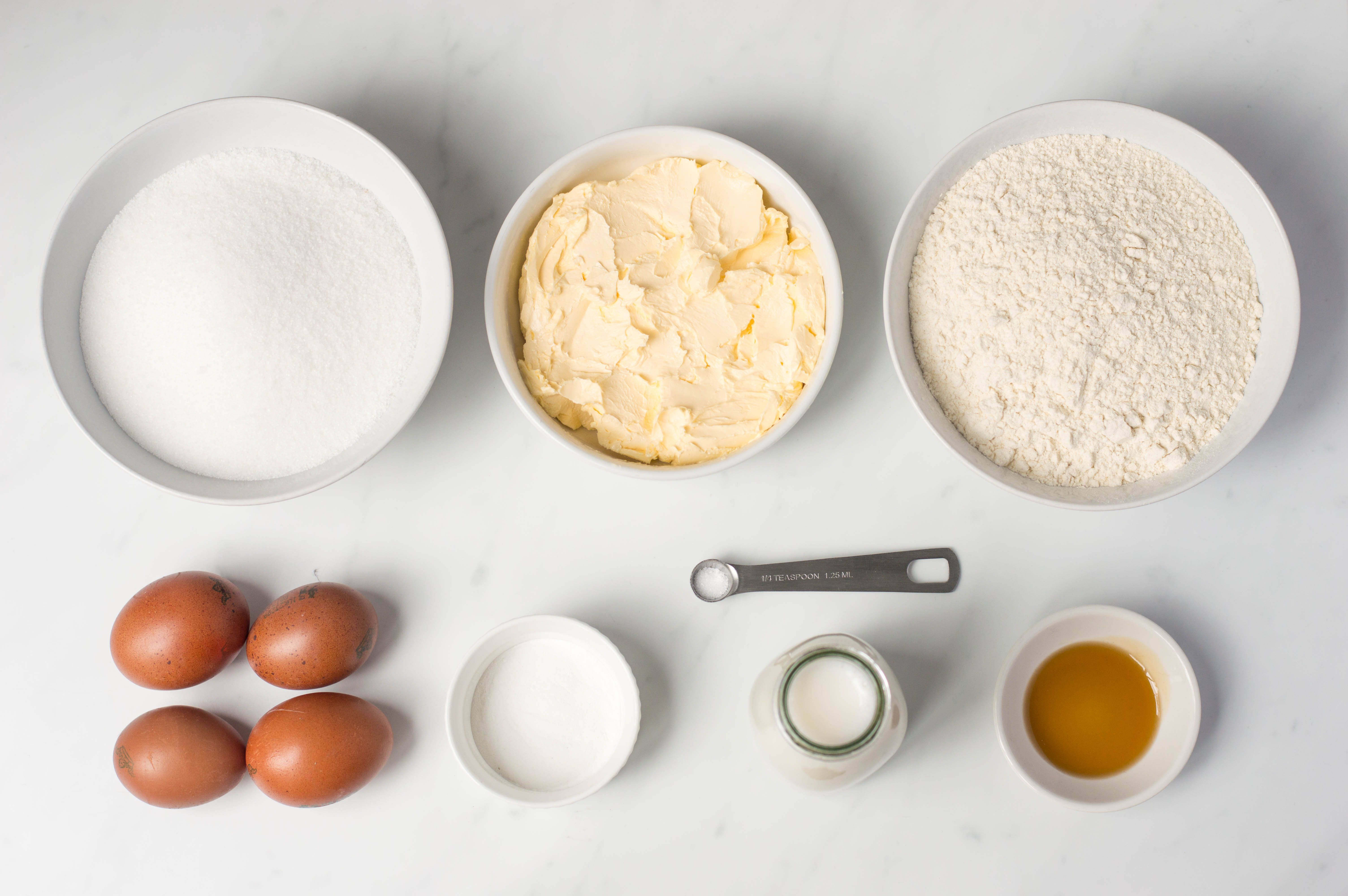Ingredients for dairy-free yellow cake