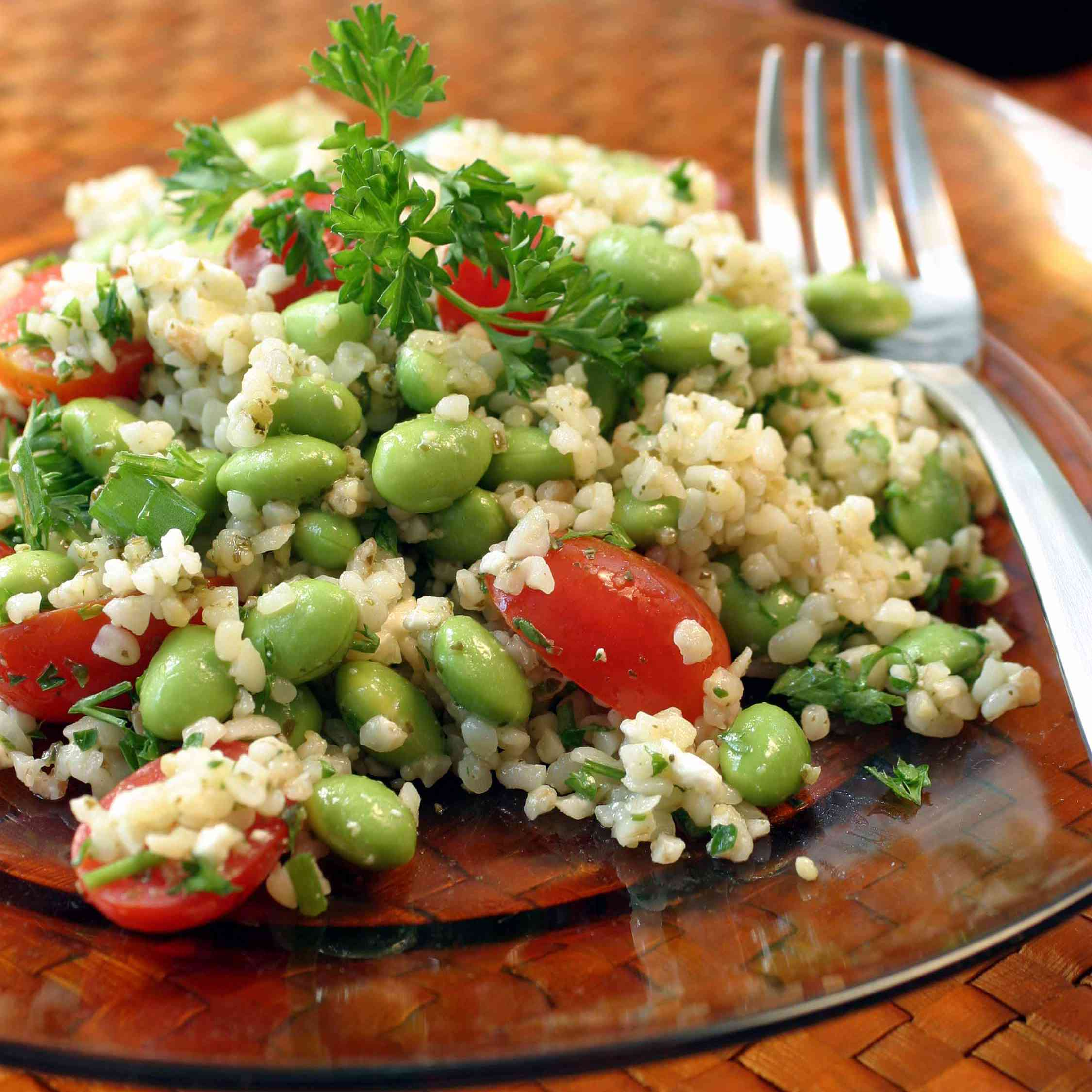 Tabbouleh Salad With Edamame and Feta Cheese