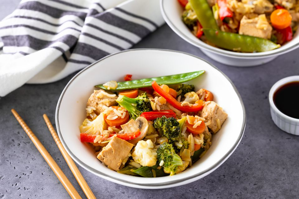 Tofu and vegetable stir fry in bowl