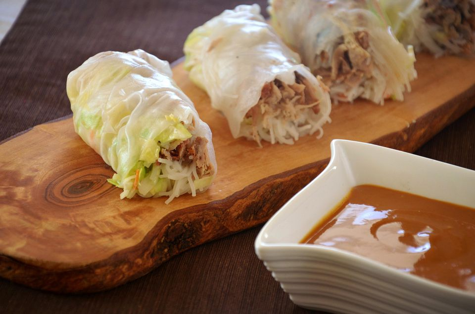 Fresh Pulled Pork Spring Rolls With Mustard Barbecue Dipping Sauce