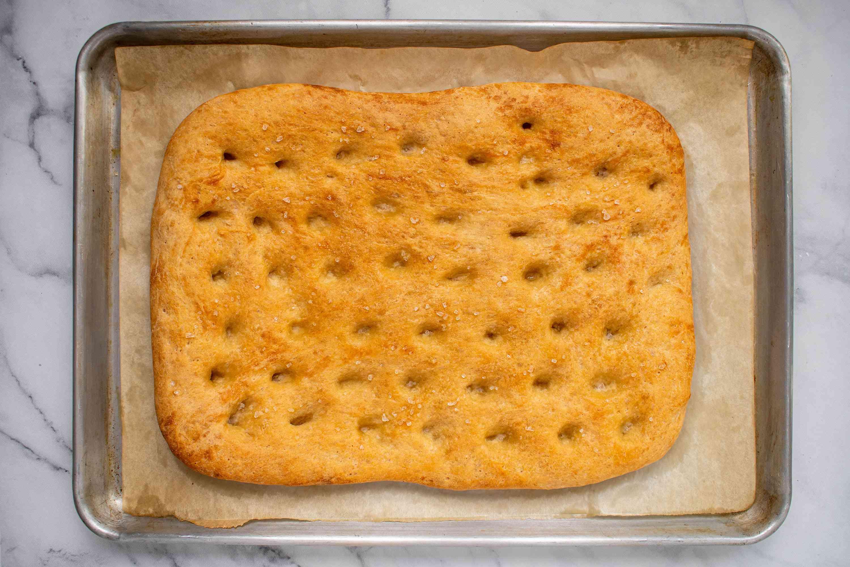 focaccia bread on a baking sheet