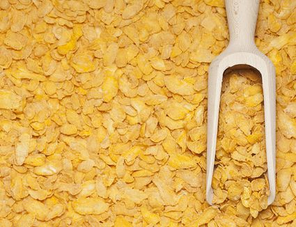 Wooden Scoop of Cornflakes on a Background of Cornflakes