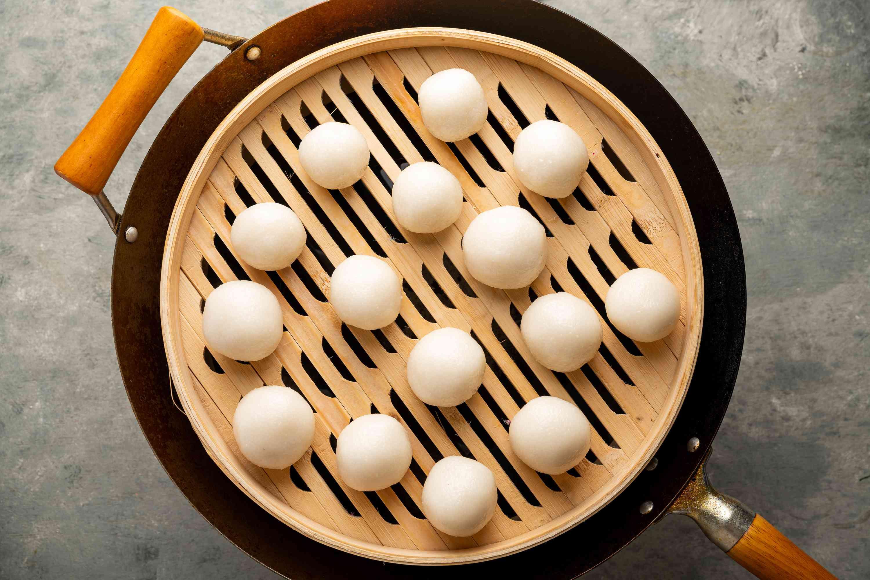 dough balls in a steamer