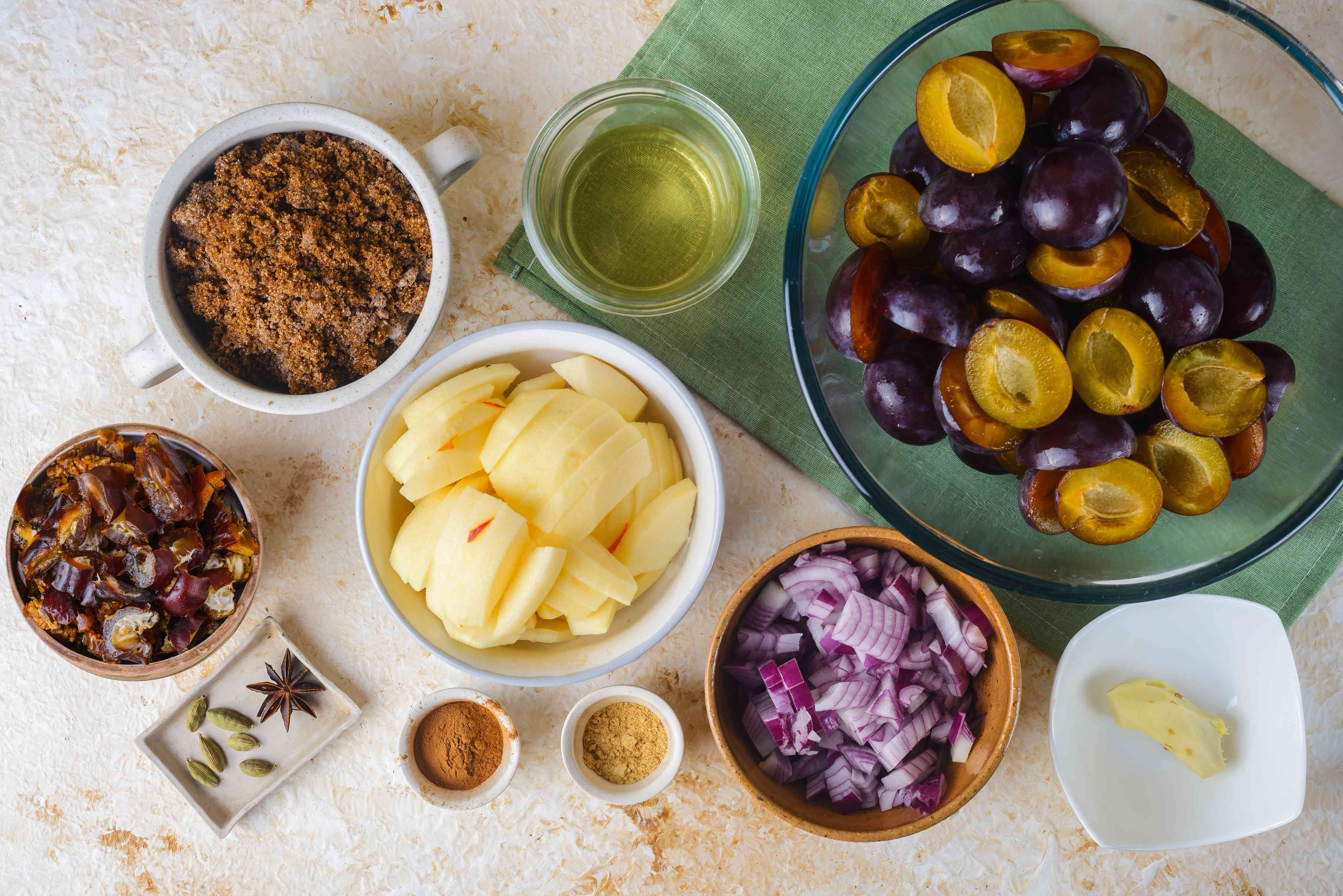 Ingredients for plum chutney