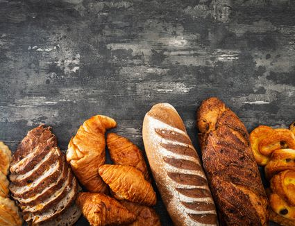 High angle view of various bread loaves