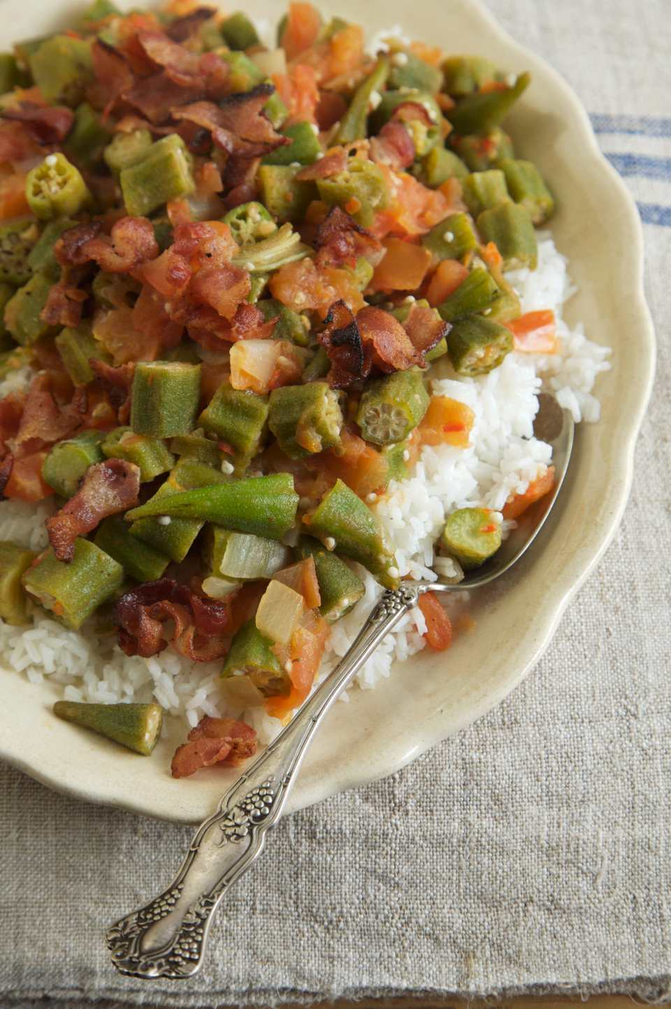Okra and tomatoes on rice