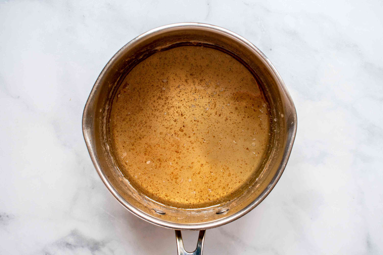 apple dumpling glaze ingredients combined in a small saucepan