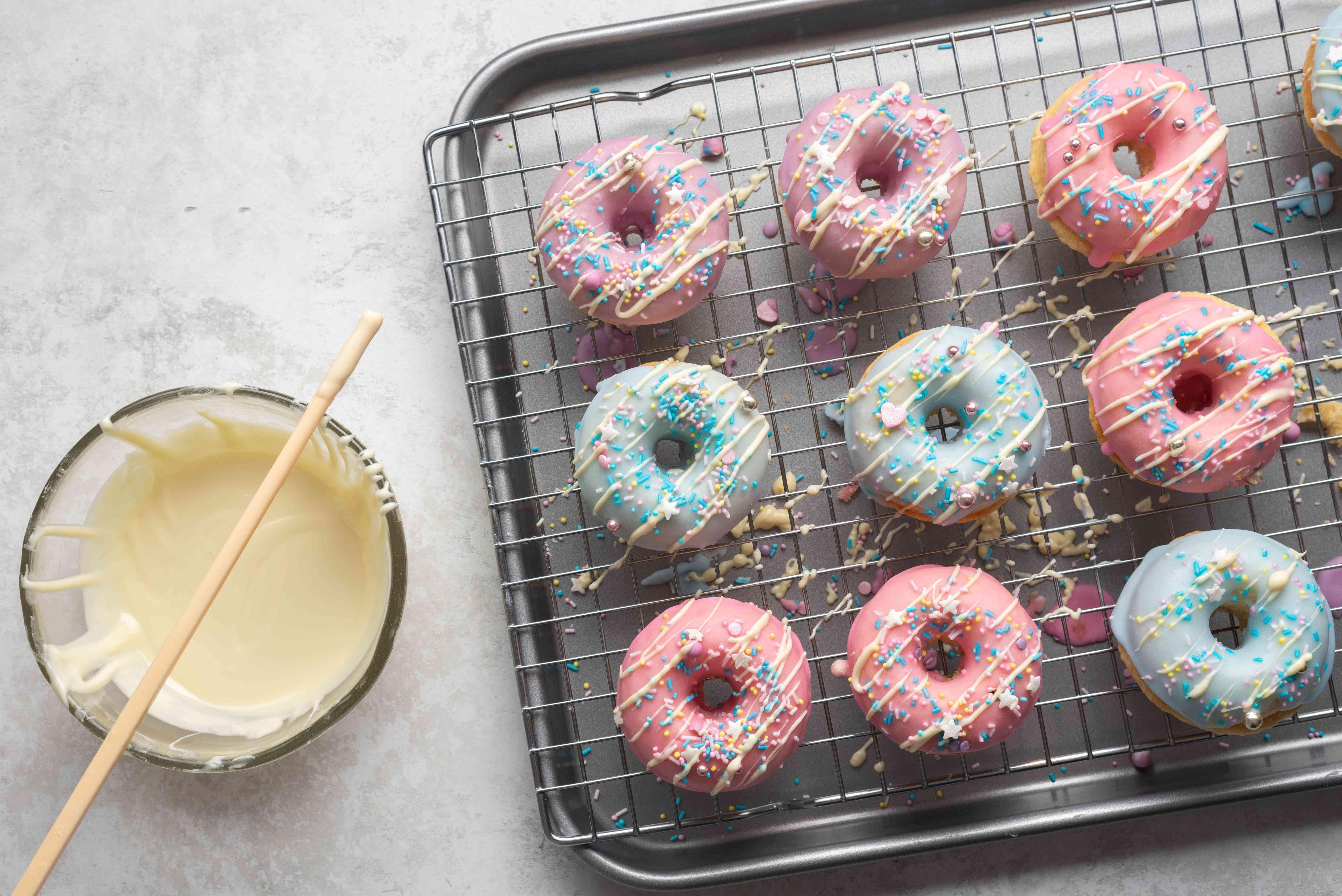 Unicorn Doughnuts on a drying rack