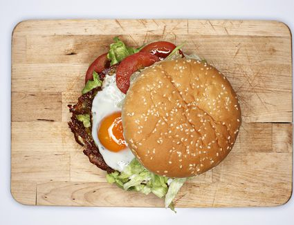 Corned Beef Burgers with Stout Mustard and Fried Egg