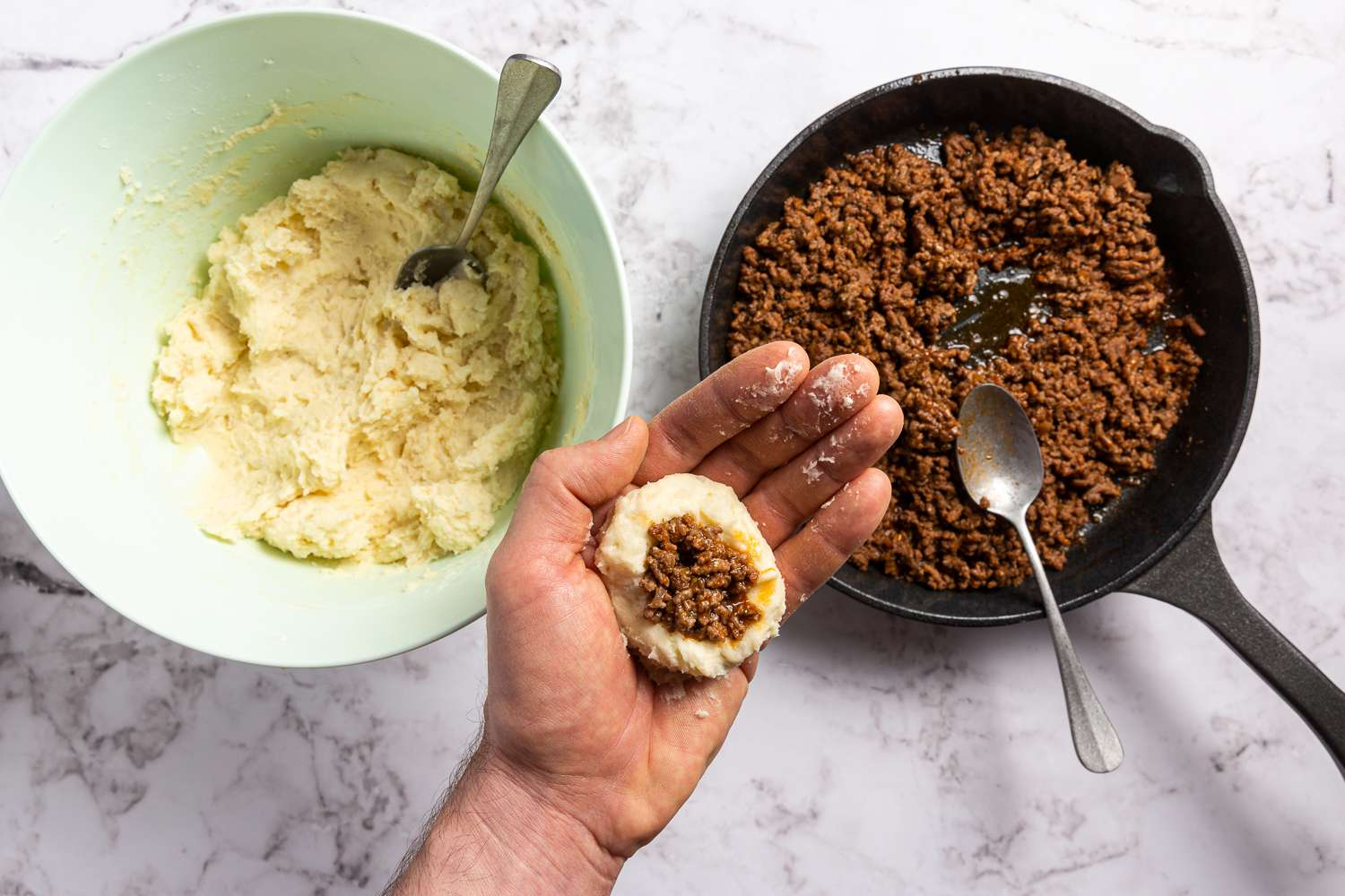ground beef wrapped with mashed potatoes