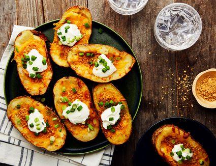 Cheesy vegetarian stuffed potato skins recipe