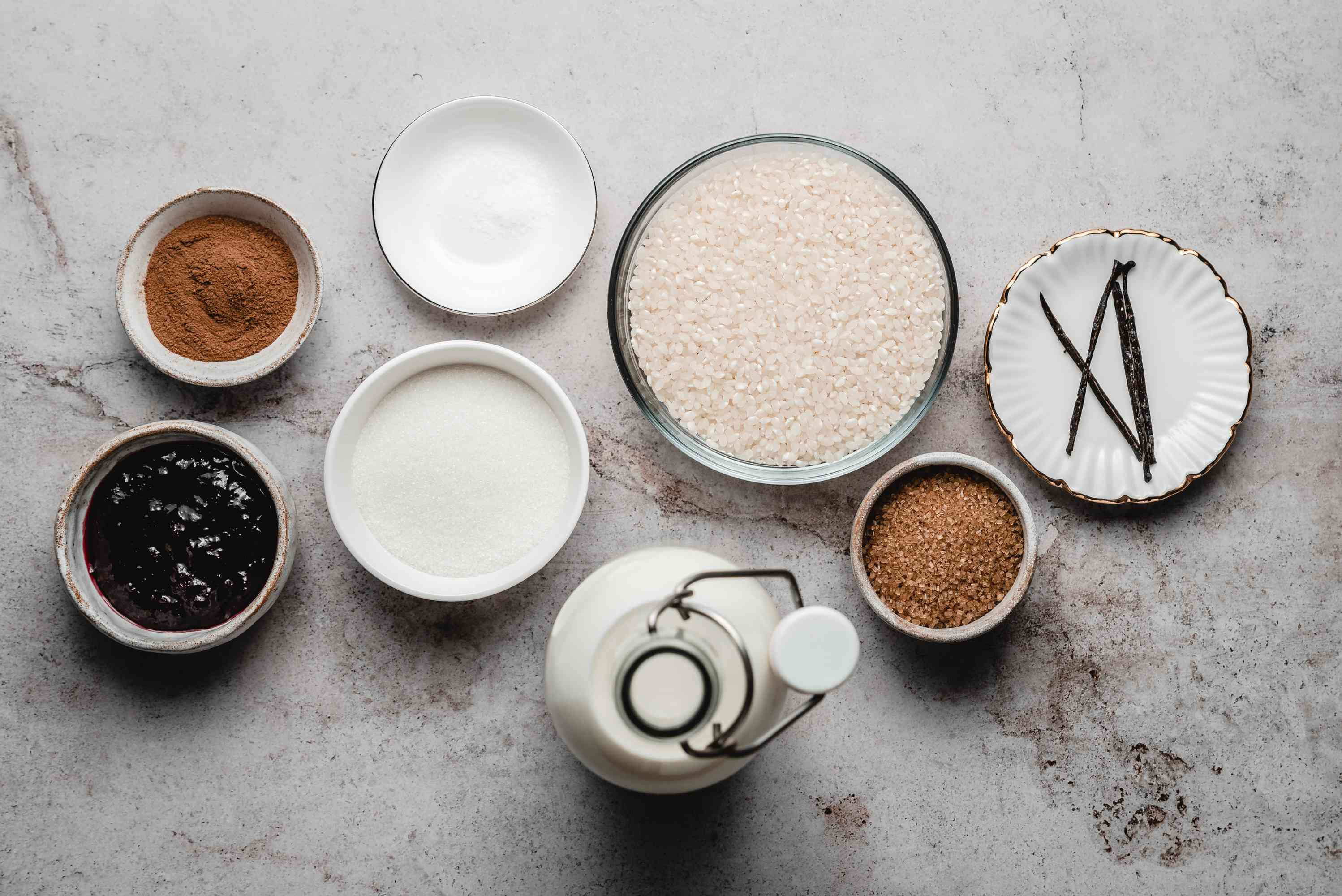 Ingredients gathered for rice pudding