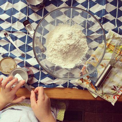 An above look at a bowl of baking powder