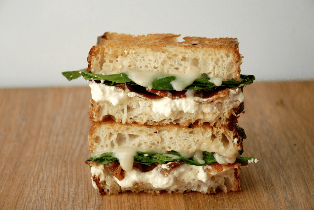 White Pizza Grilled Cheese with Bacon + Spinach