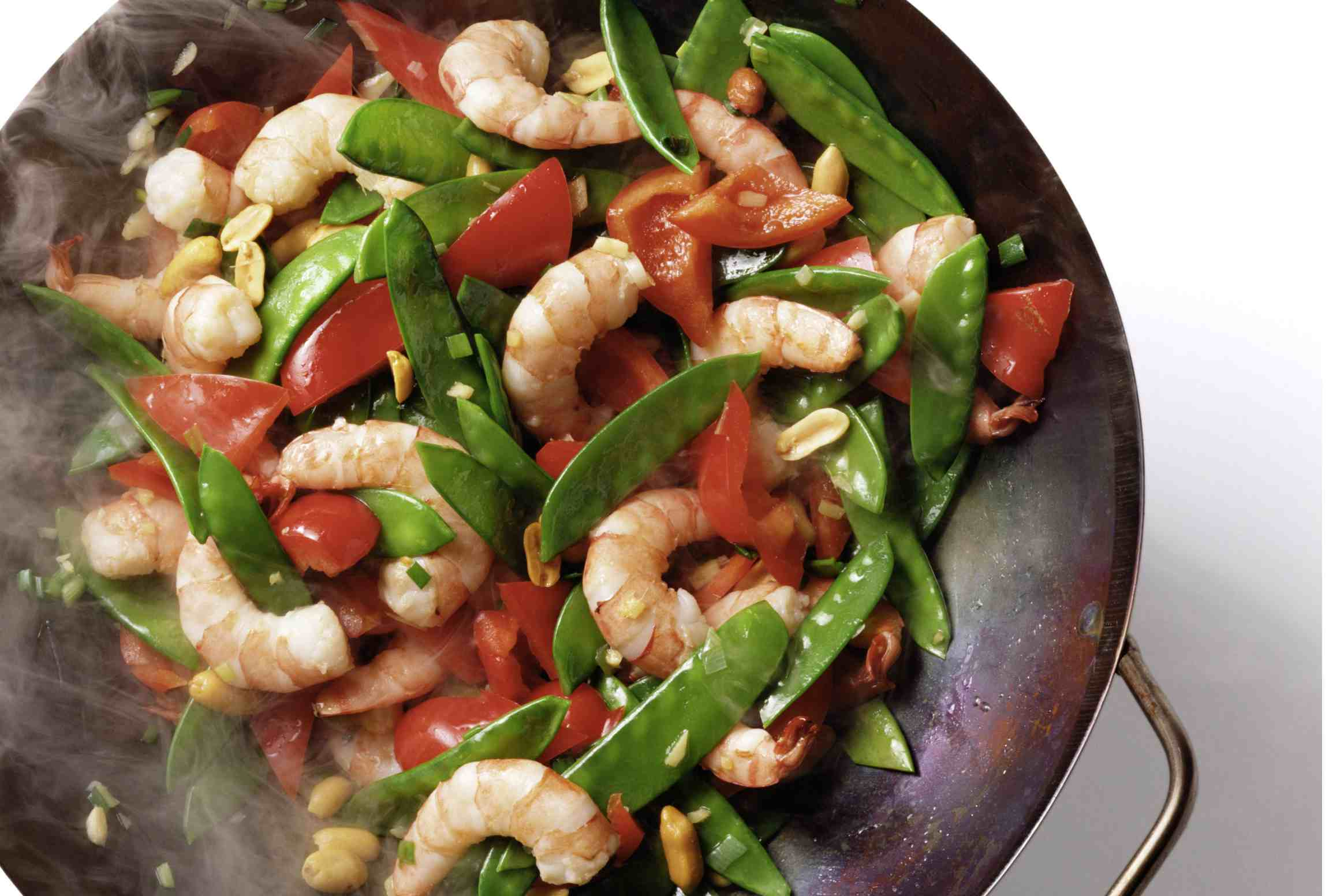 Shrimp, Snow Peas, and Red Bell Pepper