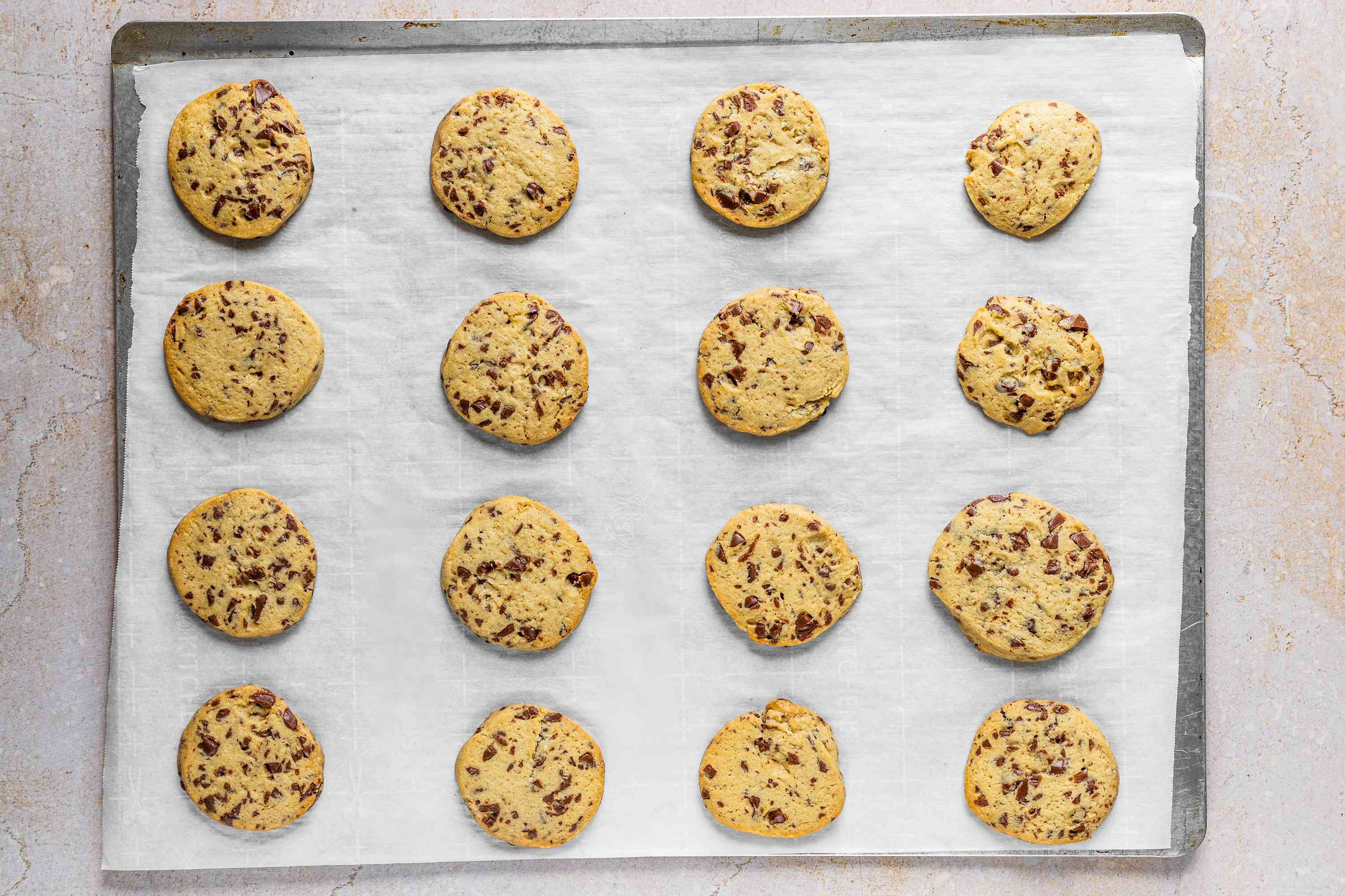 Chocolate Chip Icebox Cookies on a baking sheet