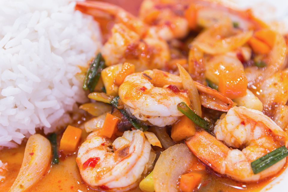 Shimp curry and vegetables stir-fry and rice