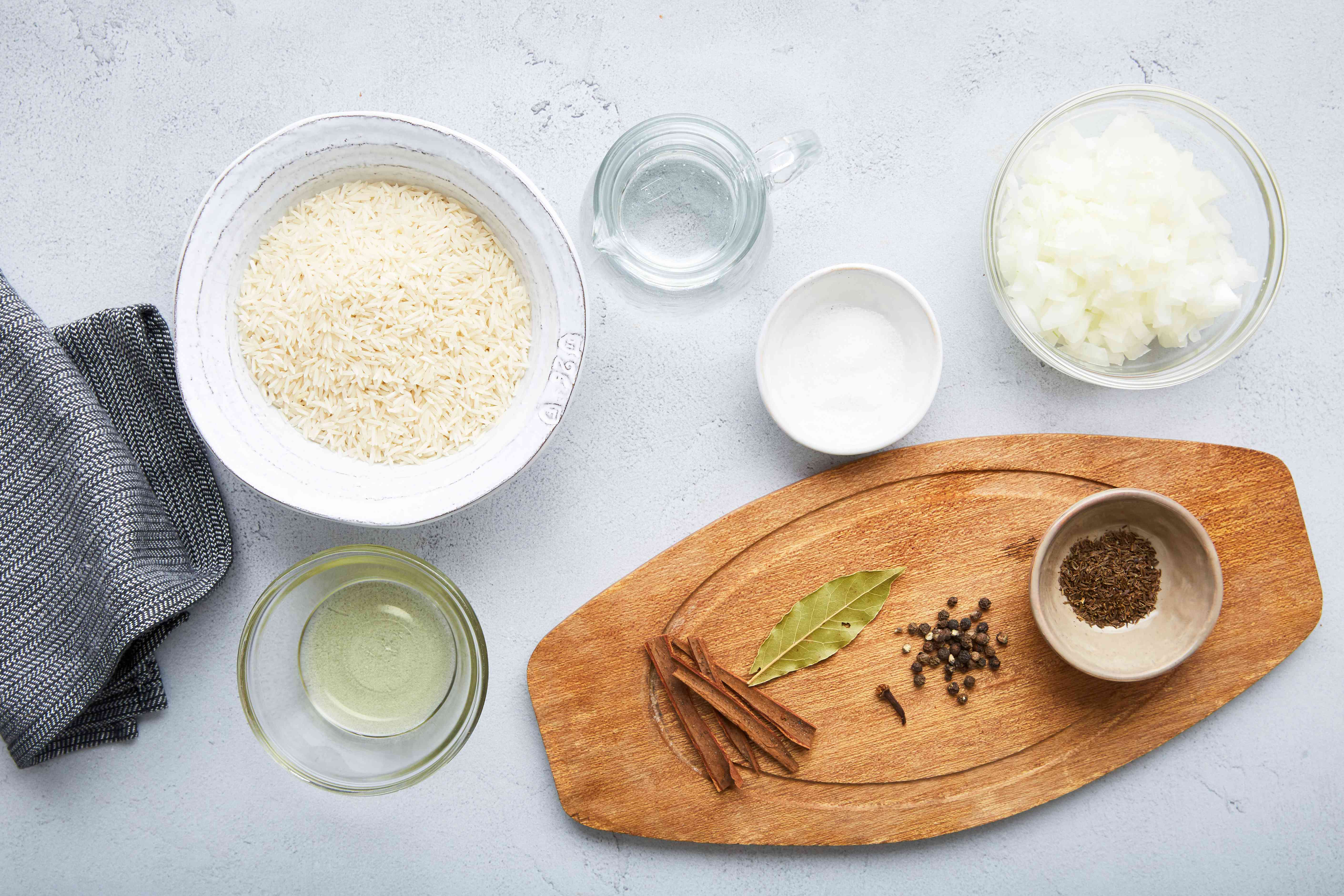 Ingredients for Indian basmati rice