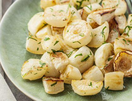 Roasted turnips on a plate