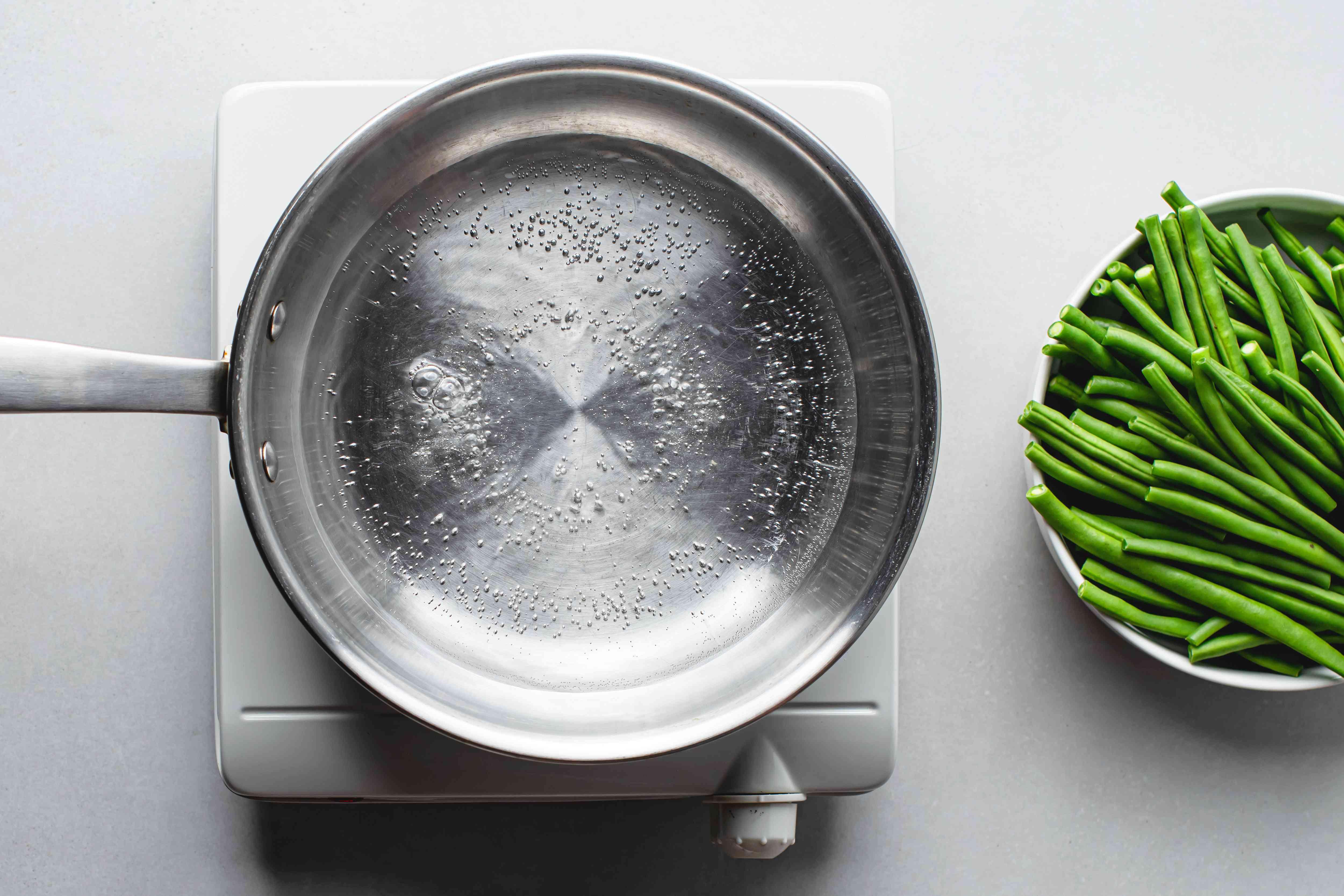 boiling water in a saucepan