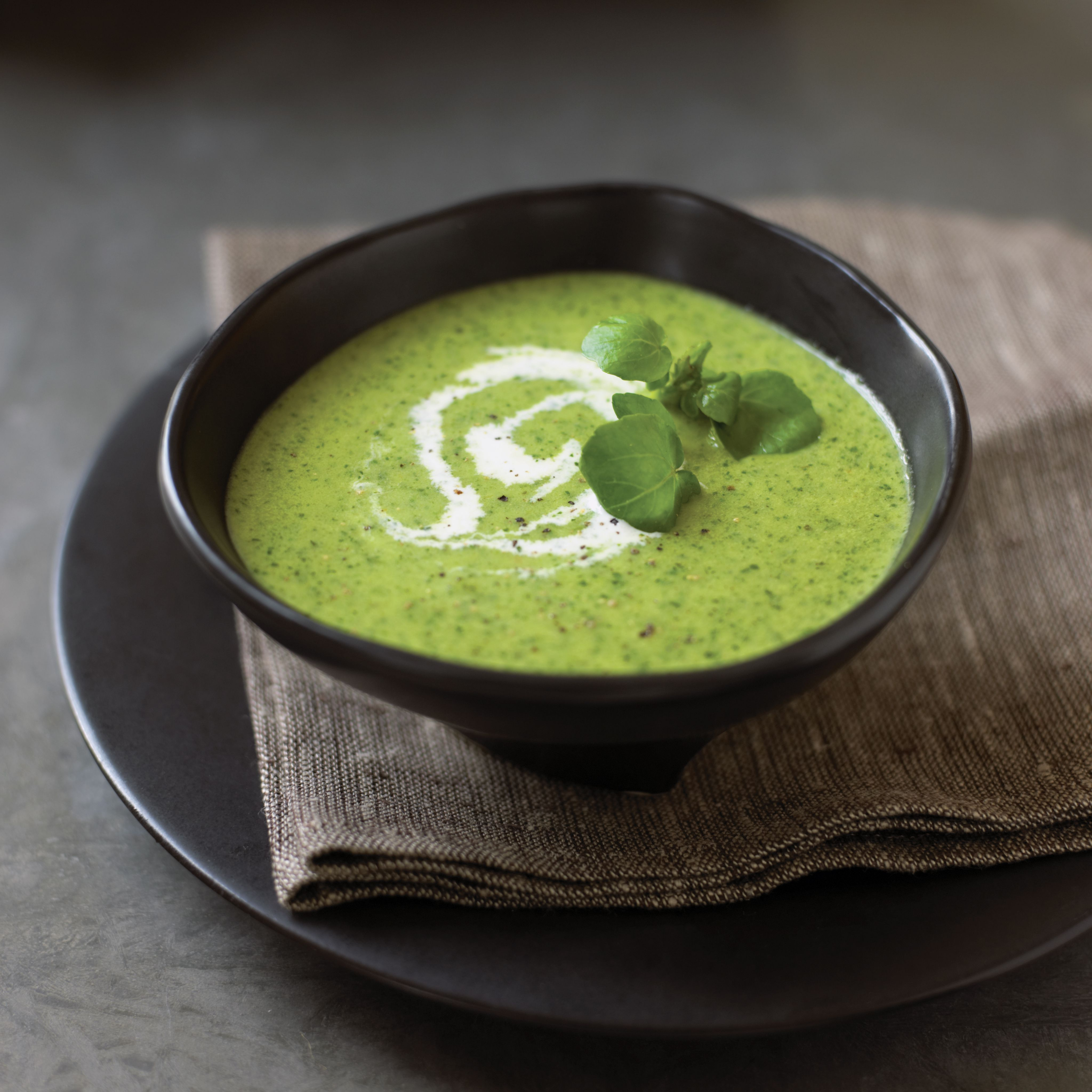 Watercress soup with leaves and swirl of cream served in bowl on napkin and plate, close-up