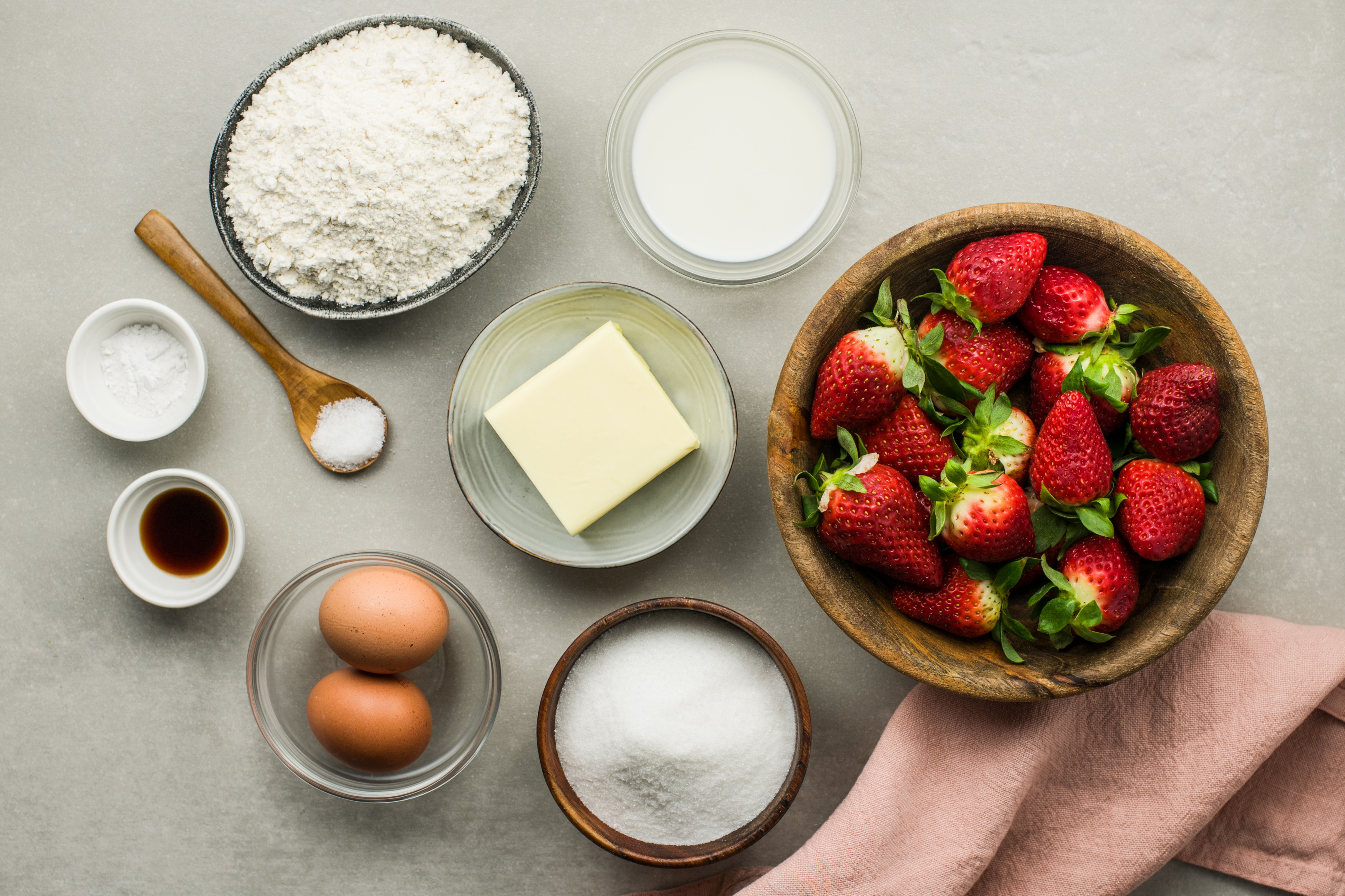 Ingredients for strawberry cupcakes