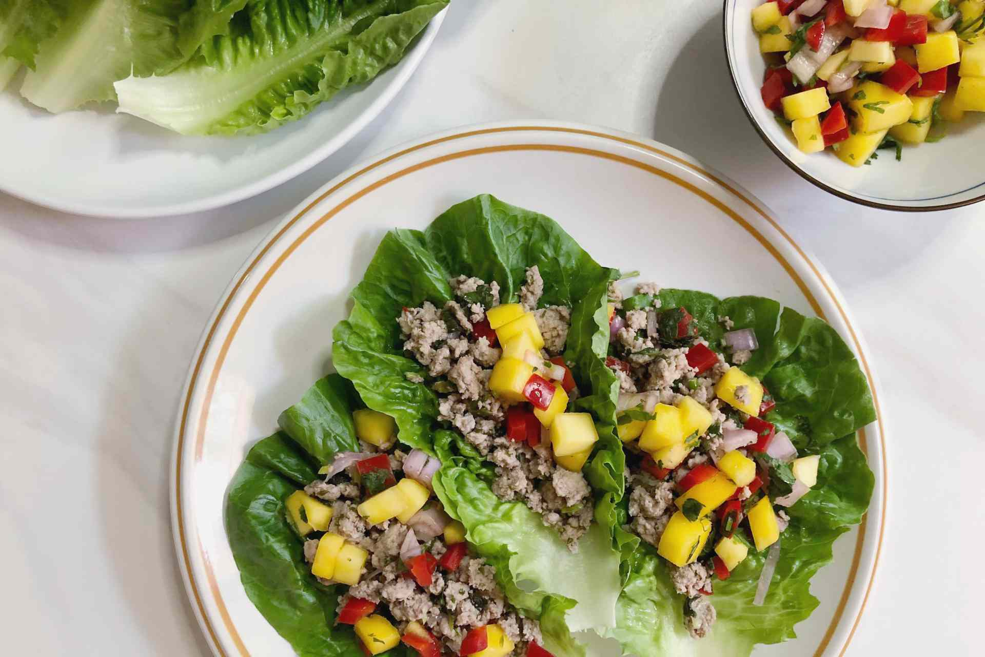 Ground turkey lettuce wraps on a plate