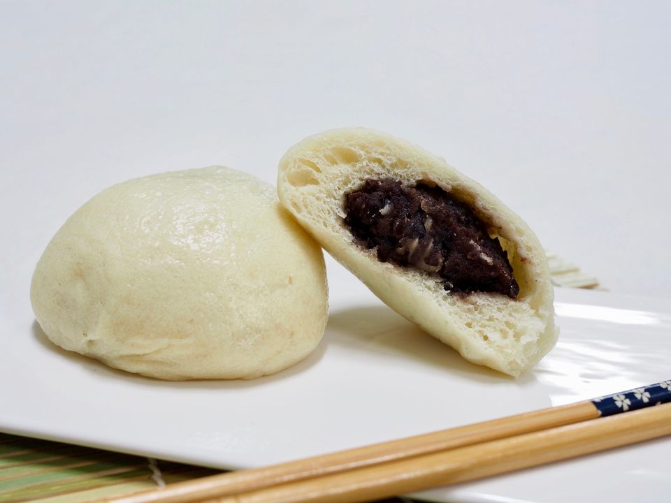 manju steamed bun with red bean paste filling