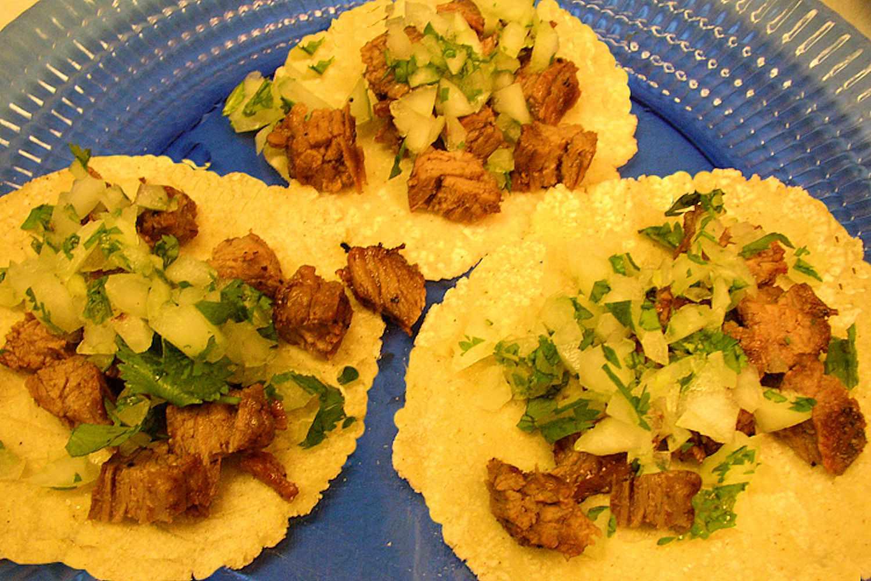Tacos on homemade tortillas