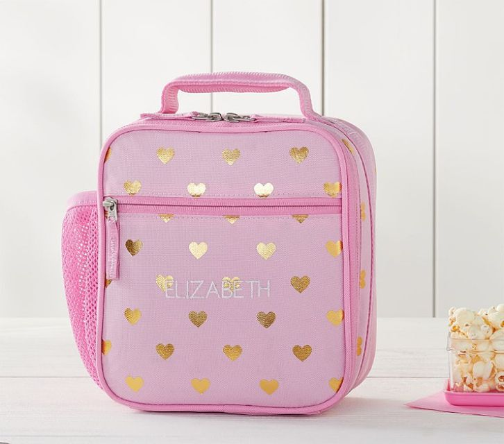 46cdc75942 Best for Kindergarten  Mackenzie Pink Gold Foil Hearts Classic Lunch Bag