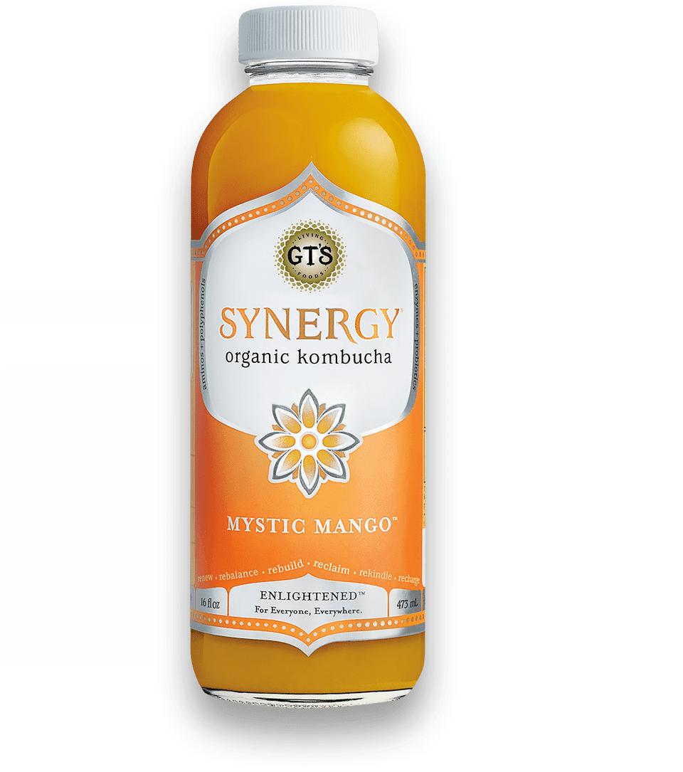 Synergy mystic mango kombucha drink