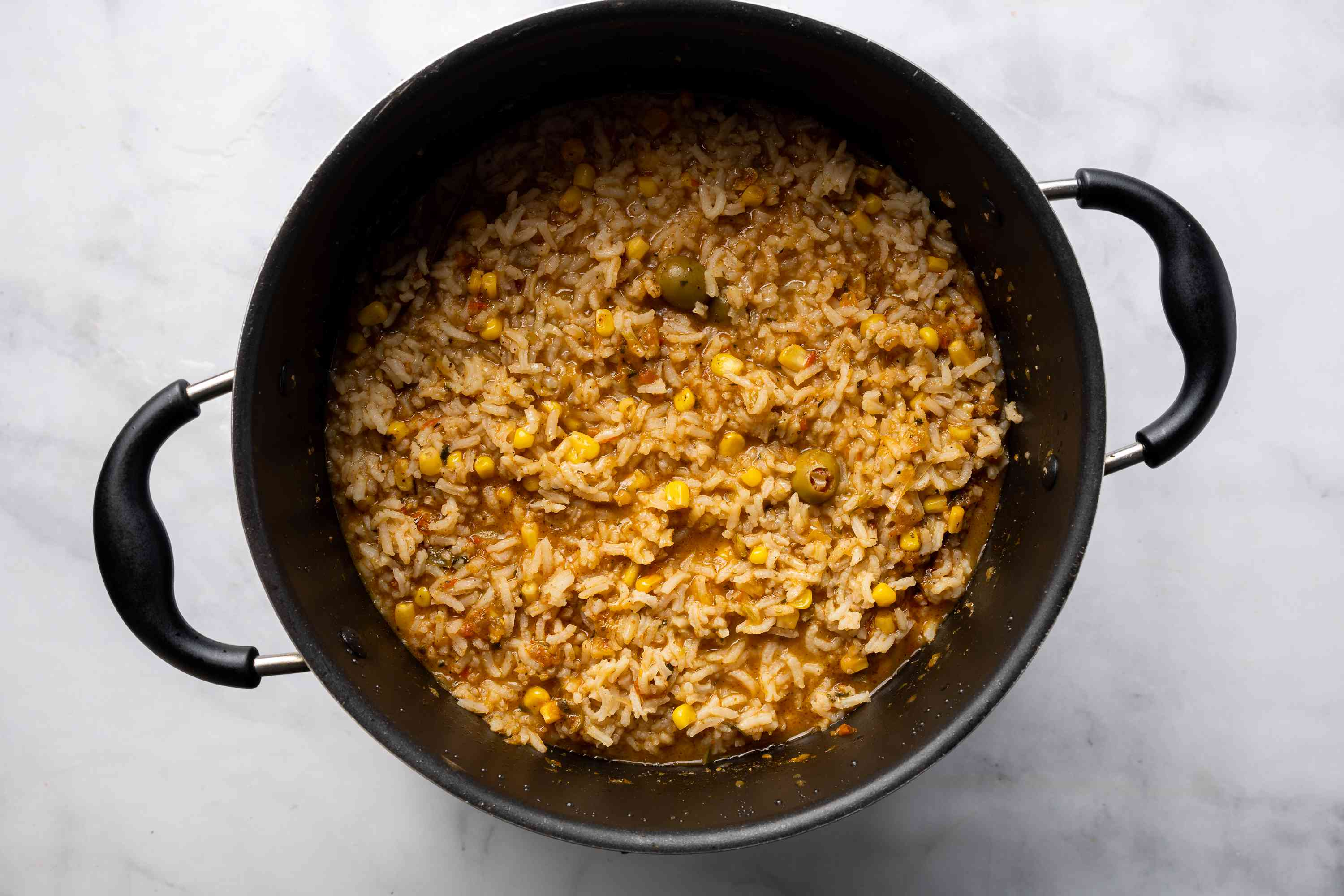 cooked rice in pot