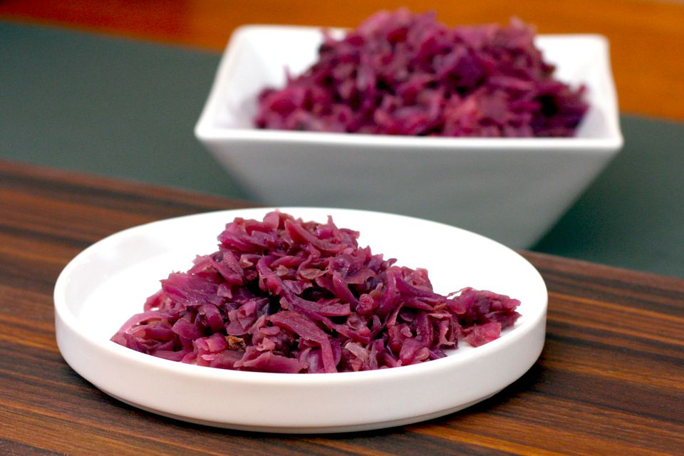 Red cabbage cooked with apple and bacon.