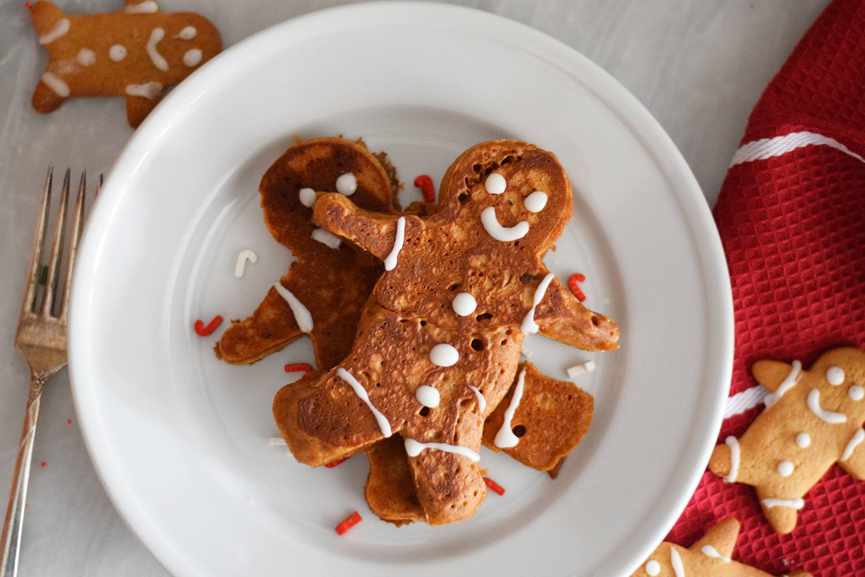 Gingerbread men pancakes