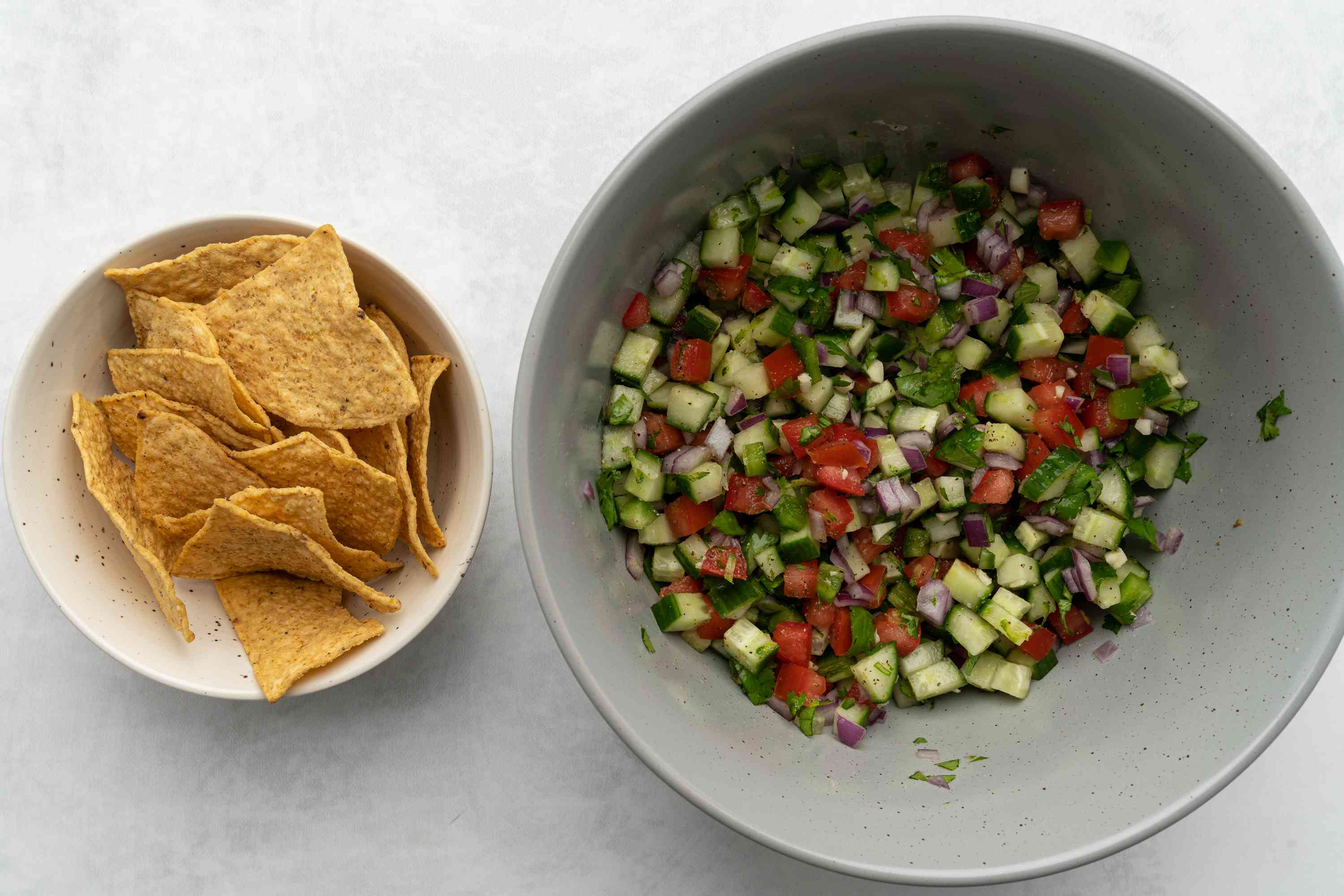 Cucumber Salsa with chips on the side