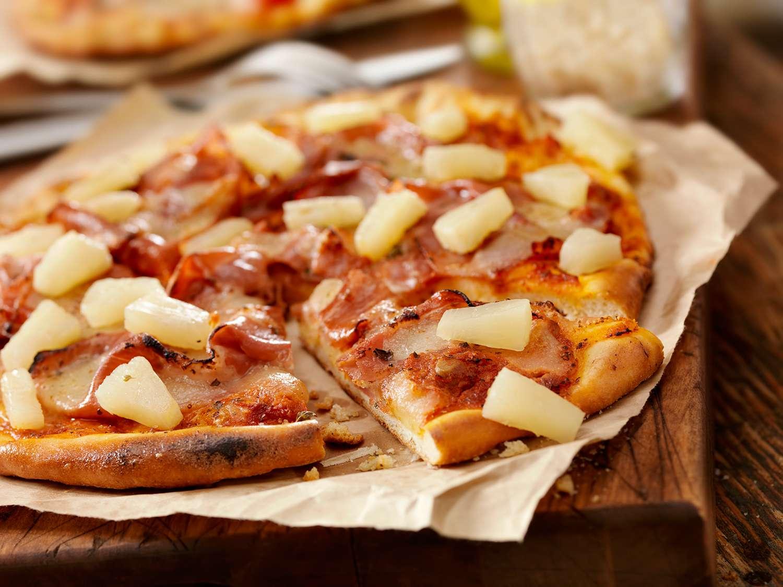 Hawaiian pizza with chunks of pineapple