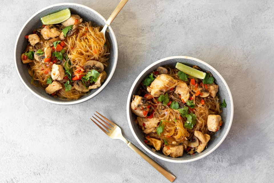 Thai Glass Noodle Stir-Fry With Chicken and Vegetables
